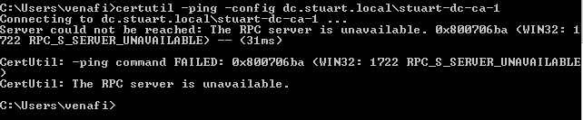 The RPC Server is unavailble when adding a MS Certificate Authority