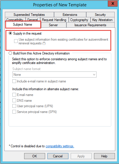Info the permissions on the certificate template do not allow the when the option for build from this active directory information is selected the ca will try and enroll the certificate using the services account venafi yelopaper Gallery