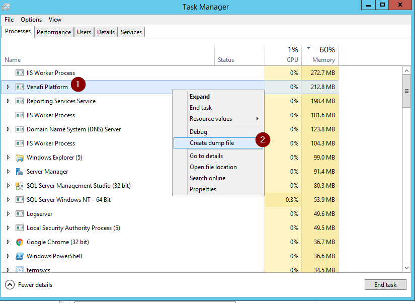 How To: Gather a Process Dump from Task Manager \u2013 Venafi Customer